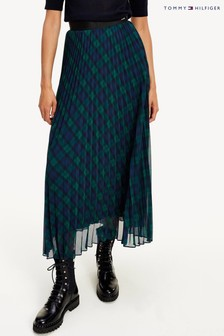 Tommy Hilfiger Green Icon Tartan Pleated Midi Skirt