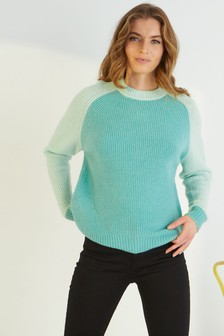 Oliver Bonas Green Contrast Sleeve Green Knitted Jumper