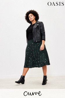 Oasis Curve Animal Pleated Skirt