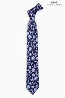 Коллекционный галстук из итальянской ткани с цветочным рисунком