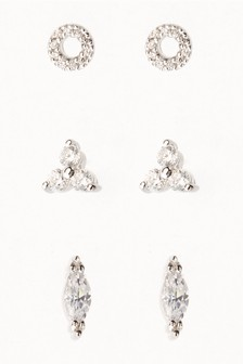 Sparkle Stud Earrings Three Pack
