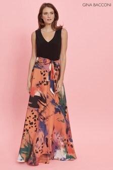 Gina Bacconi Orange Ravenna Printed Skirt Dress