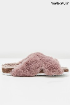 White Stuff Pink Faux Fur Footbed Slippers