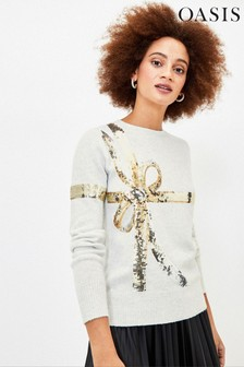 Oasis Grey Bambi Bow Sequin Jumper