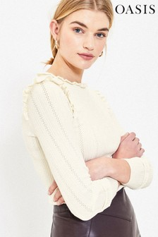 Oasis White Pointelle Frill Jumper