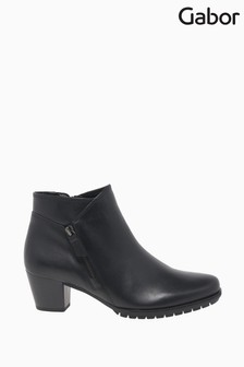Gabor Olivetti Black Leather Fashion Ankle Boots