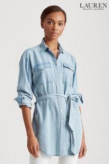 Lauren Ralph Lauren® Blue Denim Lightweight Belted Shirt