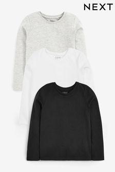 3 Pack Long Sleeve Mono Basic Tops (3-16yrs)
