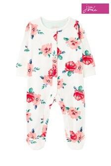 Joules White Razamataz Organically Grown Cotton Jersey Printed Sleepsuit