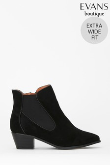 Evans Extra Wide Fit Black Curved Side Ankle Boots