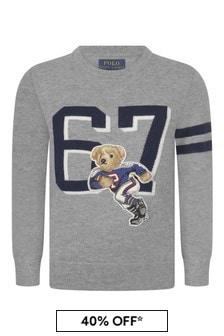 Ralph Lauren Kids Boys Grey Wool & Cotton Bear Sweater