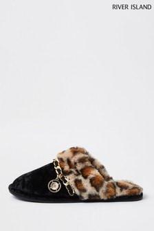 River Island Black Leopard Faux Fur Slippers