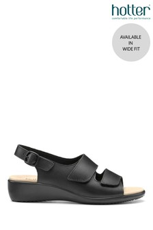Hotter Black Easy Wide Fit Touch Fastening Open Sandals