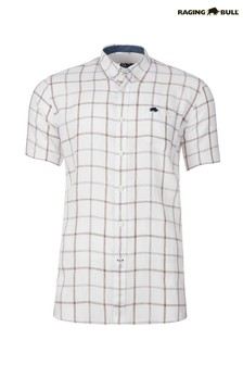 Raging Bull White Short Sleeve Window Pane Shirt