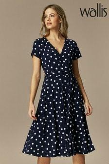 Wallis Blue Petite Spot Wrap Cap Sleeve Dress
