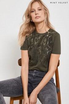 Mint Velvet Multi Snake Foil T-Shirt