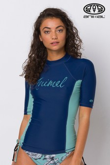 Animal Blue Vickie Short Sleeve Rash Vest