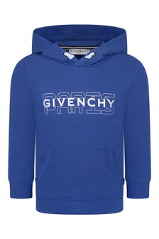 Boys Blue Hooded Logo Sweater