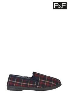 F&F Inj Red Check Faux Fur Slippers