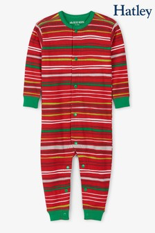Hatley Red Holiday Stripes Baby Union Suit