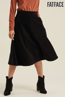 FatFace Black Carly Cord Midi Skirt
