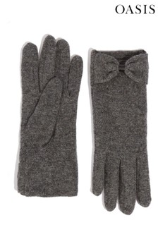 Oasis Grey Bow Fabric Gloves