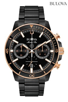 Bulova Marine Star Chronograph Black Ion Plate Bracelet Watch