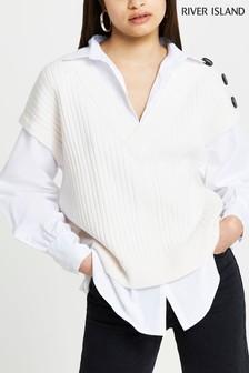 River Island Cream Button Shoulder Knitted Vest Hybrid Shirt