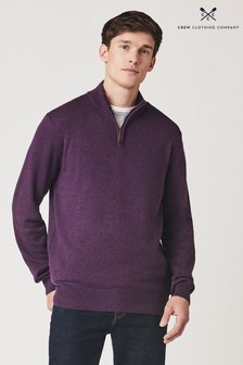 Crew Clothing Company Purple Classic 1/2 Zip Knit Jumper