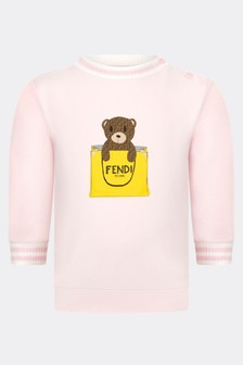 Fendi Kids Baby Girls Pink Cotton Sweater