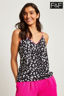 F&F Multi Black White Mono Animal Tipped Cami
