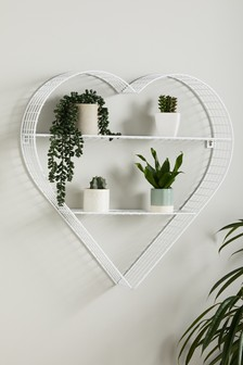 White Wire Heart Shelf