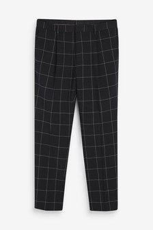 Windowpane Check Trousers
