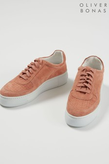 Oliver Bonas Orange Suede Leather Flatform Trainers
