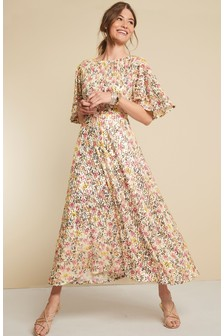 Floral Sequin Mesh Dress