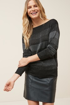 Metallic Slash Neck Jumper