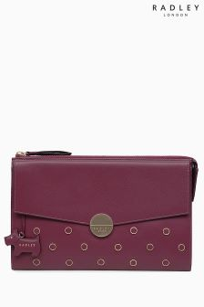 Radley Berry Red Broad Street Leather Stud Large Zip Top Clutch Bag