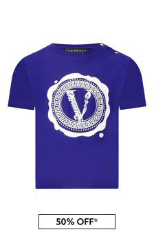 Versace Baby Boys Blue Cotton T-Shirt