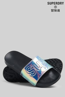 Superdry Holographic Glitter Pool Sliders