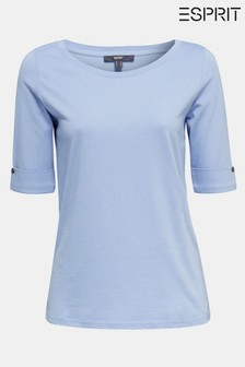 Esprit Purple T-Shirt With Turn-Up Sleeves Including Button Detail