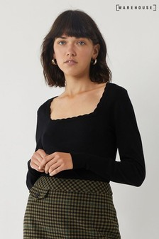 Warehouse Black Scallop Square Neck Jumper