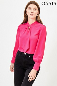 Oasis Pink Pussy Bow Blouse
