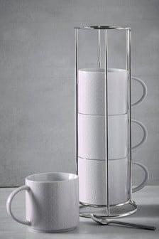 Set of 4 Mila Tile Stacking Mugs