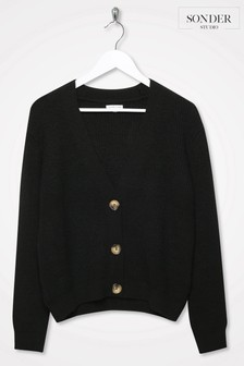 Sonder Studio Black V-Neck Button Through Cardigan