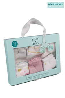 aden + anais Pink Heartbreaker Six Pack Baby Cotton Socks Gift Set