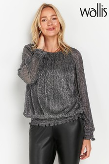 Wallis Silver Blouson Sleeve Ruched Top