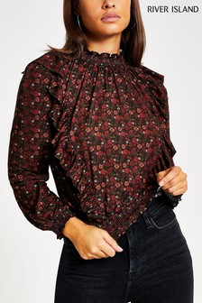 River Island Black Print Long Sleeve Shirred Ditsy Floral Frill Top