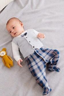 Check Waistcoat Sleepsuit (0mths-2yrs)
