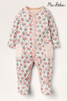 Boden Ivory Supersoft Printed Sleepsuit