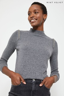 Mint Velvet Granite Chain Shoulder Jumper